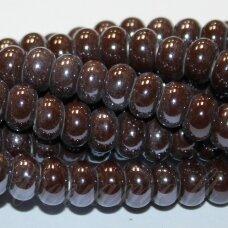 ker0004-ron-05x8 apie 5 x 8 mm, rondelės forma, ruda spalva, keramikiniai karoliukai, 1 vnt.