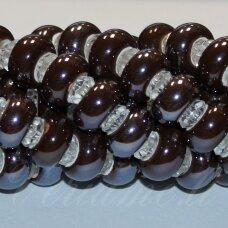 KER0004-RON-07x13 apie 7 x 13 mm, skylių,6 mm, rondelės forma, ruda spalva, keramikiniai karoliukai, 1 vnt.