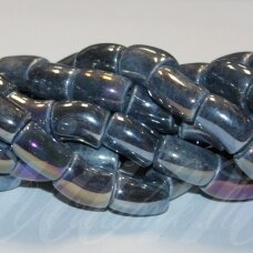 ker0005-lcil-14x8 (b11) apie 14 x 8 mm, skylė 5 mm, lenkto cilindro forma, pilka spalva, keramikiniai karoliukai, ab danga, 1 vnt.