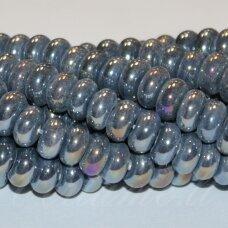ker0005-ron-05x10 (b11) apie 5 x 10 mm, rondelės forma, pilka spalva, keramikiniai karoliukai, ab danga, 1 vnt.