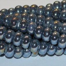ker0005-ron-05x8 (b11) apie 5 x 8 mm, rondelės forma, pilka spalva, keramikiniai karoliukai, ab danga, 1 vnt.