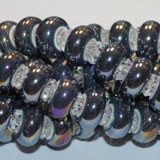 KER0005-RON-07x13 apie 7 x 13 mm, skylių,6 mm, rondelės forma, pilka spalva, keramikiniai karoliukai, AB danga, 1 vnt.