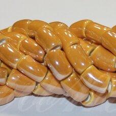 ker0006-lcil-14x8 apie 14 x 8 mm, skylė 5 mm, lenkto cilindro forma, šviesi, oranžinė spalva, keramikiniai karoliukai, 1 vnt.