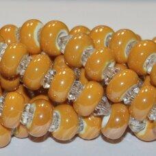 KER0006-RON-07x13 apie 7 x 13 mm, skylių,6 mm, rondelės forma, šviesi, oranžinė spalva, keramikiniai karoliukai, 1 vnt.