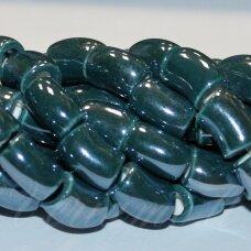 ker0009-lcil-14x8 (a27) apie 14 x 8 mm, skylė 5 mm, lenkto cilindro forma, elektrinė spalva, keramikiniai karoliukai, 1 vnt.