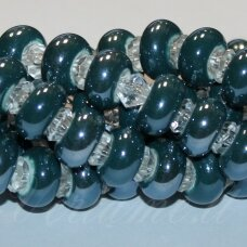 ker0009-ron-07x13 (a27) apie 7 x 13 mm, skylė 6 mm, rondelės forma, elektrinė spalva, keramikiniai karoliukai, 1 vnt.