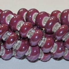 KER0010-RON-07x13 apie 7 x 13 mm, skylių,6 mm, rondelės forma, alyvinė spalva, keramikiniai karoliukai, 1 vnt.