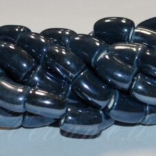 ker0011-lcil-14x8 (a26) apie 14 x 8 mm, skylė 5 mm, lenkto cilindro forma, pilka spalva, mėlyna spalva, keramikiniai karoliukai, 1 vnt.