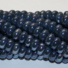 ker0011-ron-05x10 (a26) apie 5 x 10 mm, rondelės forma, pilka spalva, mėlyna spalva, keramikiniai karoliukai, 1 vnt.