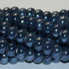 ker0011-ron-05x8 (a26) apie 5 x 8 mm, rondelės forma, pilka spalva, mėlyna spalva, keramikiniai karoliukai, 1 vnt.