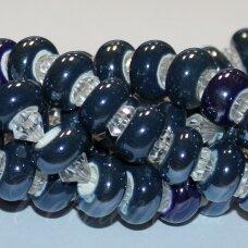 KER0011-RON-07x13 apie 7 x 13 mm, skylių,6 mm, rondelės forma, pilka, mėlyna spalva, keramikiniai karoliukai, 1 vnt.