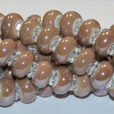 KER0013-RON-07x13 apie 7 x 13 mm, skylių,6 mm, rondelės forma, šviesi, ruda spalva, keramikiniai karoliukai, 1 vnt.