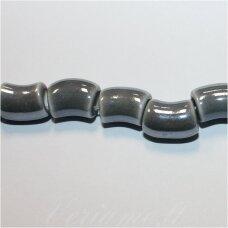 ker0015-lcil-14x8 (a30) apie 14 x 8 mm, skylė 5 mm, lenkto cilindro forma, pilka spalva, keramikiniai karoliukai, 1 vnt.