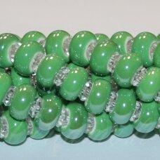 KER0016-RON-07x13 apie 7 x 13 mm, skylių,6 mm, rondelės forma, žalia spalva, keramikiniai karoliukai, 1 vnt.
