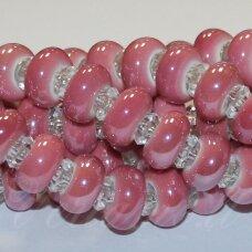 KER0024-RON-07x13 apie 7 x 13 mm, skylių,6 mm, rondelės forma, rožinė spalva, keramikiniai karoliukai, 1 vnt.