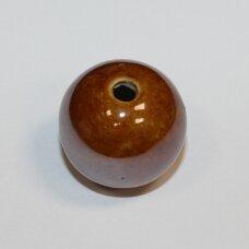 ker0058-apv-33-35 apie 33-35 mm, apvali forma, skylė 4-6 mm, netaisyklinga forma, šviesi, ruda spalva, keramikiniai karoliukai, ab danga, 1 vnt.
