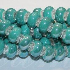 KER0030-RON-07x13 apie 7 x 13 mm, skylių,6 mm, rondelės forma, šviesi, elektrinė spalva, keramikiniai karoliukai, 1 vnt.