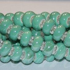 KER0031-RON-07x13 apie 7 x 13 mm, skylių,6 mm, rondelės forma, šviesi, žalia spalva, keramikiniai karoliukai, 1 vnt.