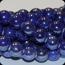 KER0032-APV-18 apie 18 mm, apvali forma, tamsi, mėlyna spalva, keramikiniai karoliukai, 1 vnt.