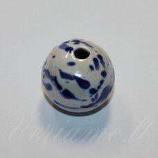 ker0139-apv-33-35 apie 33-35 mm, apvali forma, skylė 4-6 mm, netaisyklinga forma, marga, balta spalva, keramikiniai karoliukai, 1 vnt.