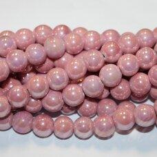 KER0042-APV-14 apie 14 mm, apvali forma, rožinė spalva, keramikiniai karoliukai, 1 vnt.