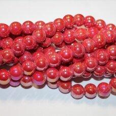 KER0046-APV-18 apie 18 mm, apvali forma, raudona spalva, AB danga, keramikiniai karoliukai, 1 vnt.