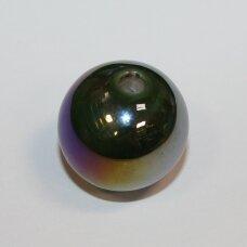 ker0059-apv-33-35 apie 33-35 mm, apvali forma, skylė 4-6 mm, netaisyklinga forma, žalia spalva, ab danga, keramikiniai karoliukai, 1 vnt.