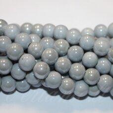 KER0055-APV-14 apie 14 mm, apvali forma, pilka spalva, keramikiniai karoliukai, 1 vnt.