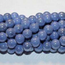KER0056-APV-14 apie 14 mm, apvali forma, šviesi mėlyna spalva, keramikiniai karoliukai, 1 vnt.