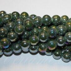 ker0059-apv-10 apie 10 mm, apvali forma, marga, ab danga, keramikiniai karoliukai, 1 vnt.