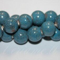 ker0068-apv-14 apie 14 mm, apvali forma, mėlyna spalva, marga, keramikiniai karoliukai, 1 vnt.