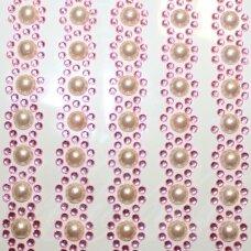 KLA0026 skersmuo 15 mm, rožinė spalva, klijuojama akrilinė akutė, 5 juostelės po 19 vnt.
