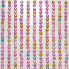 KLAP0001 perliuko skersmuo 3 mm, margi, klijuojami akriliniai perliukai, 26 juostelės po 27 vnt.