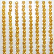 KLAP0002 perliuko skersmuo 3 mm, geltona spalva, klijuojami akriliniai perliukai, 26 juostelės po 27 vnt.