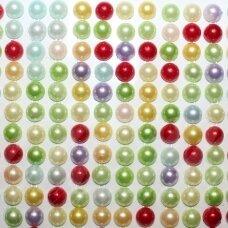 klap0014, perliuko skersmuo 6 mm, mix spalva, klijuojamas akrilinis perliukas, 20 juostelių po 13 vnt.