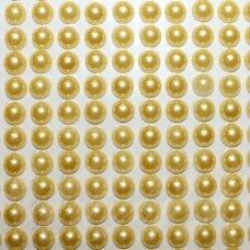 KLAP0019 perliuko skersmuo 6 mm, geltona spalva, klijuojami akriliniai perliukai, 20 juostelių po 13 vnt.
