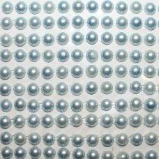 KLAP0024 perliuko skersmuo 5 mm, melsva spalva, klijuojami akriliniai perliukai, 22 juostelės po 15 vnt.