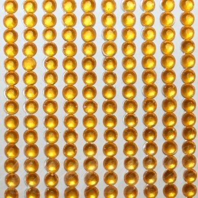 kla0013, akutės skersmuo 4 mm, geltona spalva, klijuojama akrilinė akutė, 45 juostelės po 22 vnt.