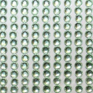 kla0014 akutės skersmuo 4 mm, šviesi, žalia spalva, klijuojama akrilinė akutė, 45 juostelės po 22 vnt.