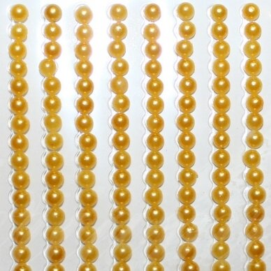 KLAP0002 perliuko skersmuo 3 mm, geltona spalva, klijuojamas akrilinis perliukas, 26 juostelės po 27 vnt.
