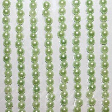 klap0006 perliuko skersmuo 3 mm, salotinė spalva, klijuojamas akrilinis perliukas, 26 juostelės po 27 vnt.