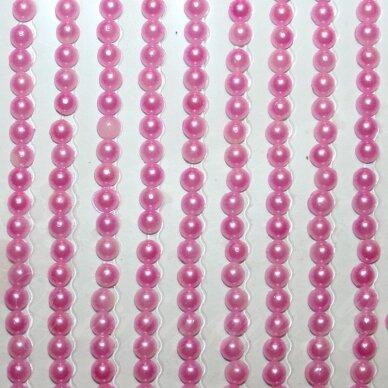 klap0007 perliuko skersmuo 3 mm, rožinė spalva, klijuojamas akrilinis perliukas, 26 juostelės po 27 vnt.