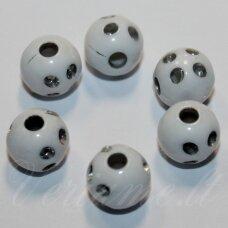KP0058 apie 8 mm, apvali forma, balta spalva, su akutėmis, plastikinis karoliukas, apie 90 vnt.