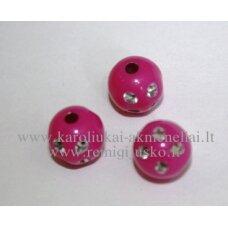 KP0072 apie 10 mm, apvali forma, tamsi, rožinė spalva, su akutėmis, plastikinis karoliukas, apie 40 vnt.