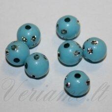 KP0079 apie 8 mm, apvali forma, melsva spalva, su akutėmis, plastikinis karoliukas, apie 82 vnt.