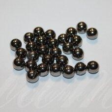 kp2675 apie 8 mm, apvali forma, pilka spalva, plastikinis karoliukas, be skylės, apie 60 vnt.