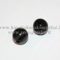 KP0206 apie 7 mm, apvali forma, juoda spalva, plastikinis karoliukas, apie 80 vnt.
