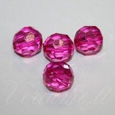 KP0239 apie 14 mm, apvali forma, briaunuotas, skaidrus, rožinė spalva, plastikinis karoliukas, 16 vnt.