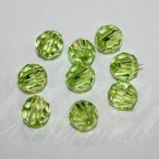 KP0325 apie 8 mm, apvali forma, briaunuotas, skaidrus, žalia spalva, plastikinis karoliukas, 65 vnt.