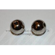 KP0931 apie 7 mm, apvali forma, tamsi, metalo spalva, plastikinis karoliukas, apie 70 vnt.